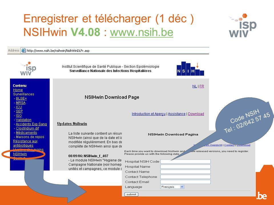 Enregistrer et télécharger (1 déc ) NSIHwin V4.08 : www.nsih.be