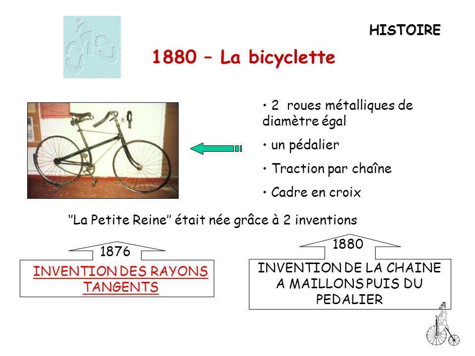 1880 – La bicyclette HISTOIRE 2 roues métalliques de diamètre égal