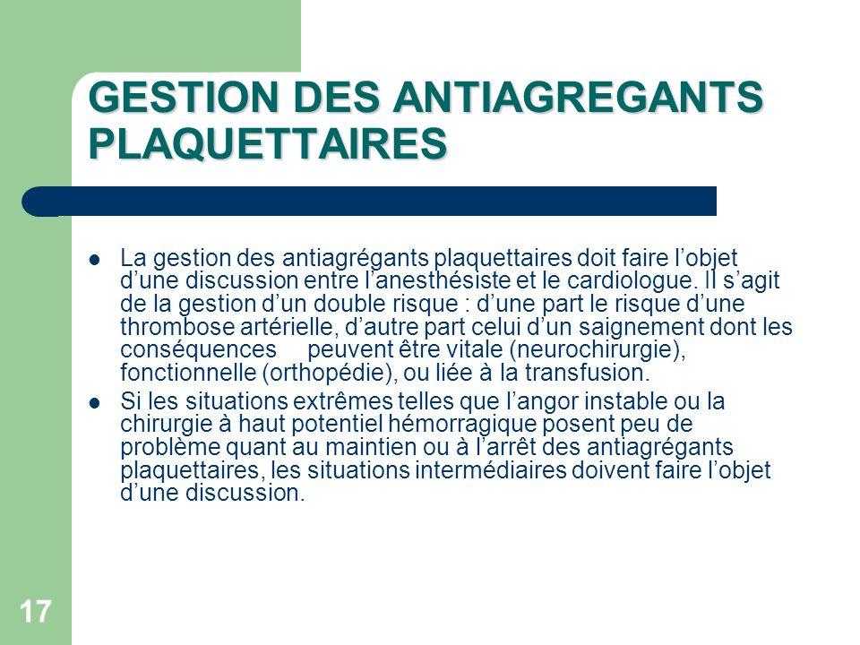 GESTION DES ANTIAGREGANTS PLAQUETTAIRES