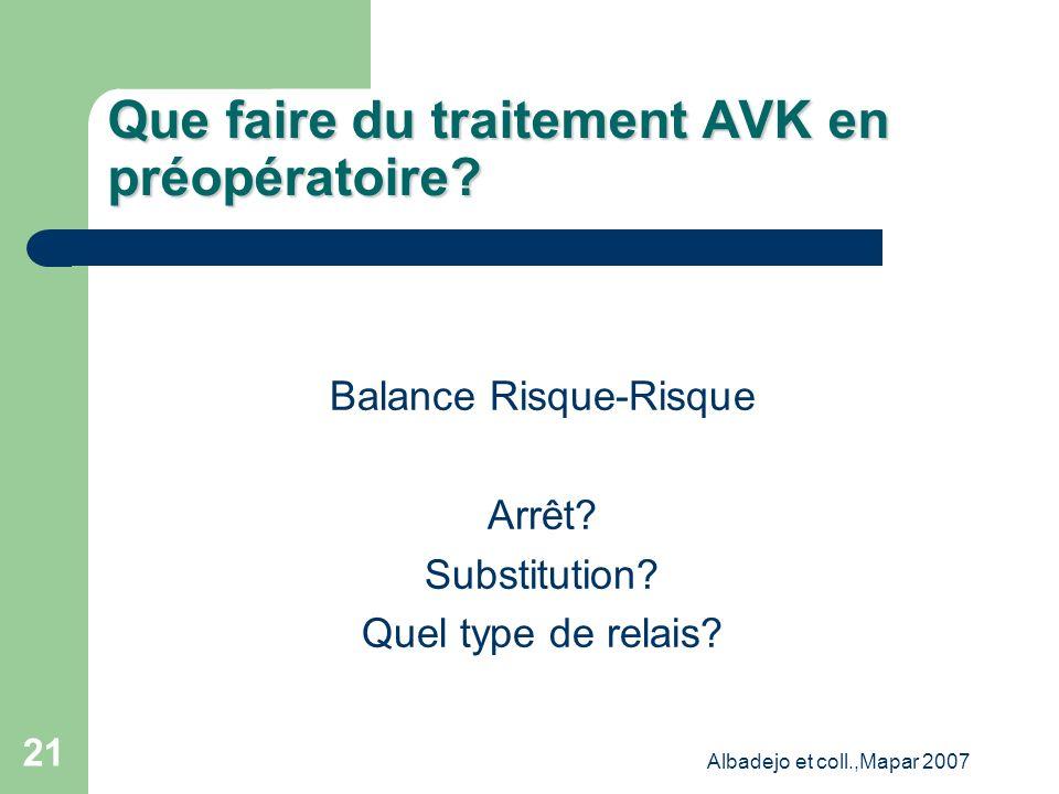 Que faire du traitement AVK en préopératoire
