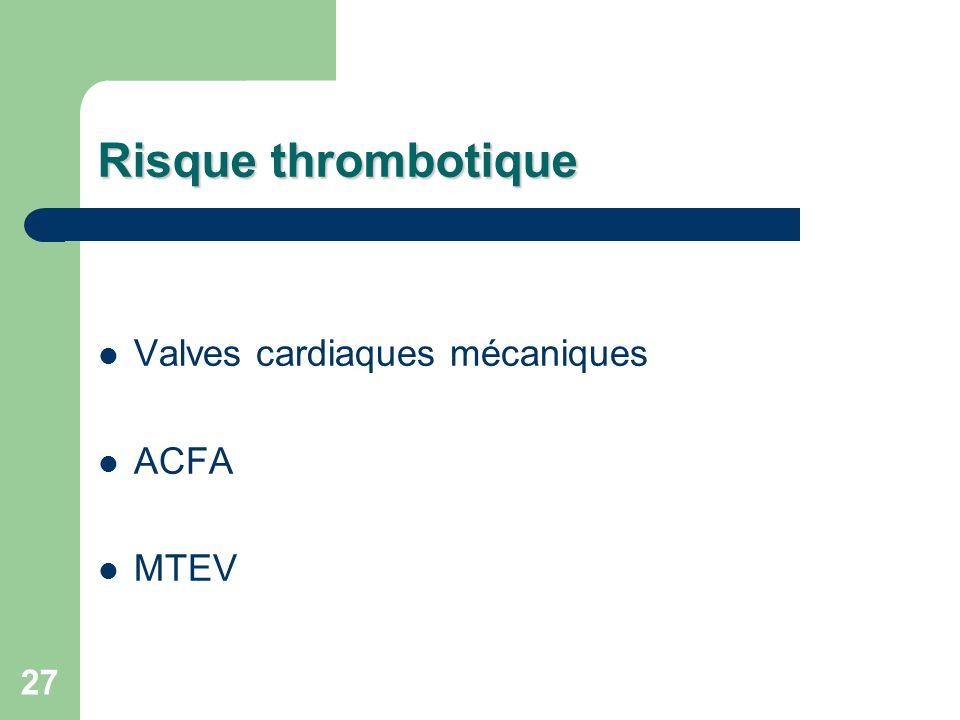 Risque thrombotique Valves cardiaques mécaniques ACFA MTEV
