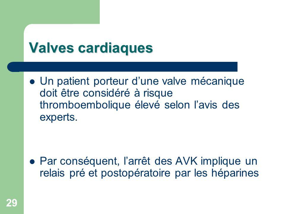 Valves cardiaques Un patient porteur d'une valve mécanique doit être considéré à risque thromboembolique élevé selon l'avis des experts.