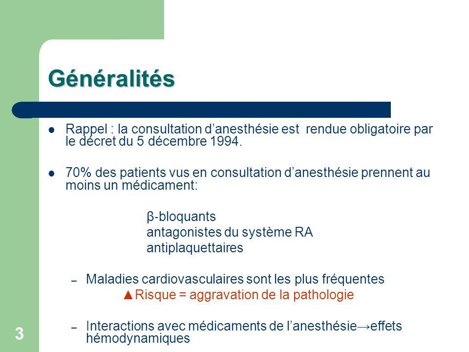 Généralités Rappel : la consultation d'anesthésie est rendue obligatoire par le décret du 5 décembre 1994.