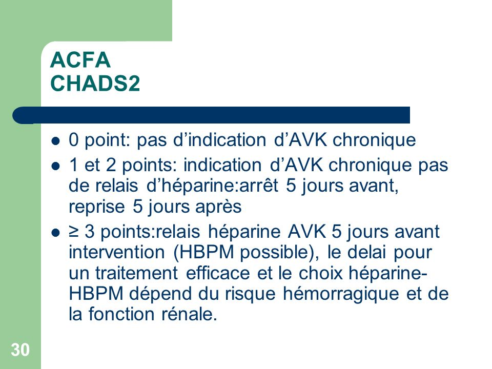 ACFA CHADS2 0 point: pas d'indication d'AVK chronique