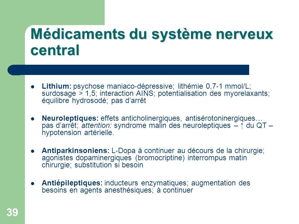 Médicaments du système nerveux central