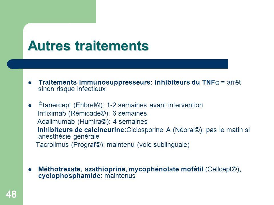 Autres traitements Traitements immunosuppresseurs: inhibiteurs du TNFα = arrêt sinon risque infectieux.