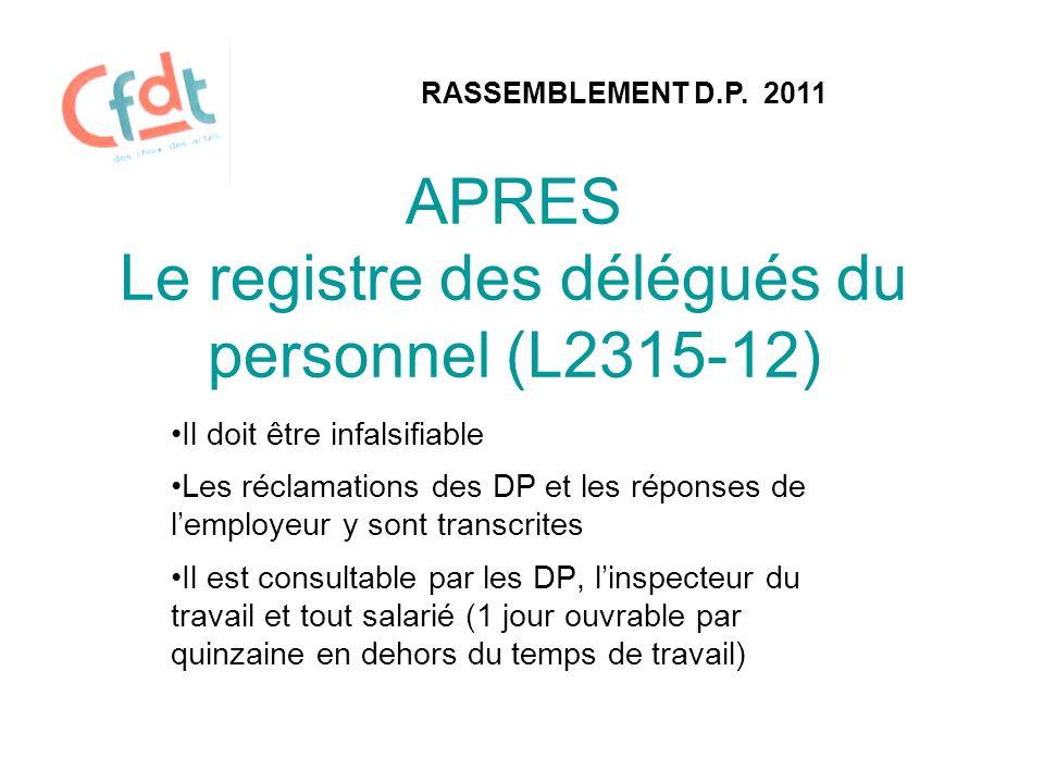 APRES Le registre des délégués du personnel (L2315-12)