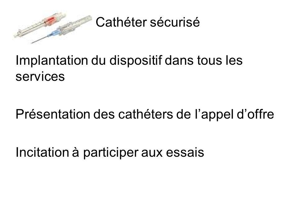 Cathéter sécurisé Implantation du dispositif dans tous les services. Présentation des cathéters de l'appel d'offre.