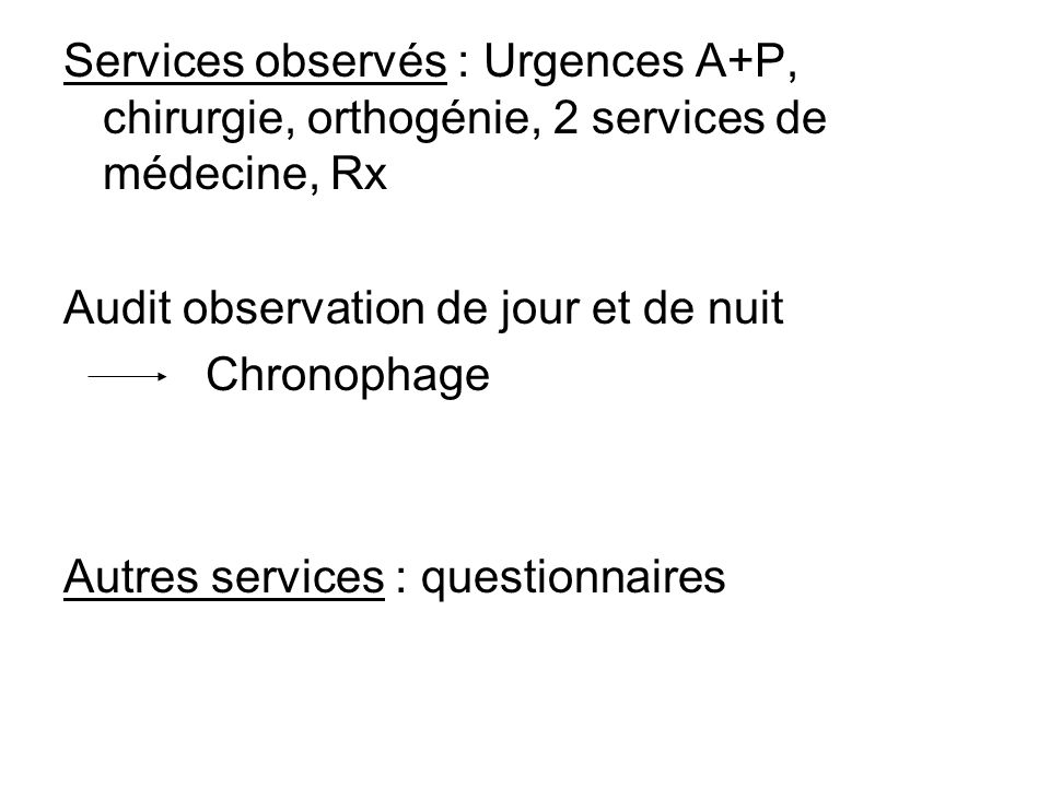 Services observés : Urgences A+P, chirurgie, orthogénie, 2 services de médecine, Rx