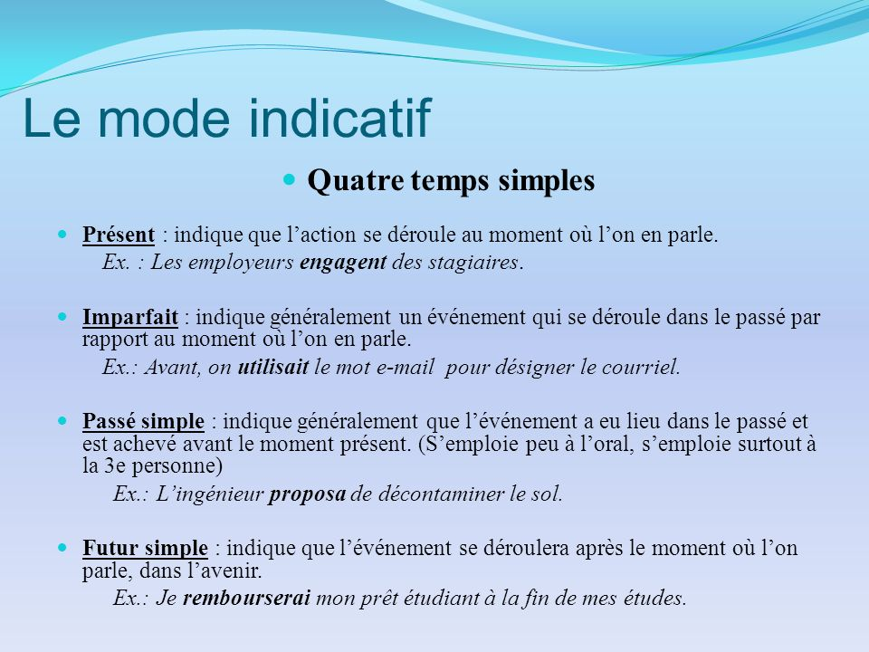 Le mode indicatif Quatre temps simples