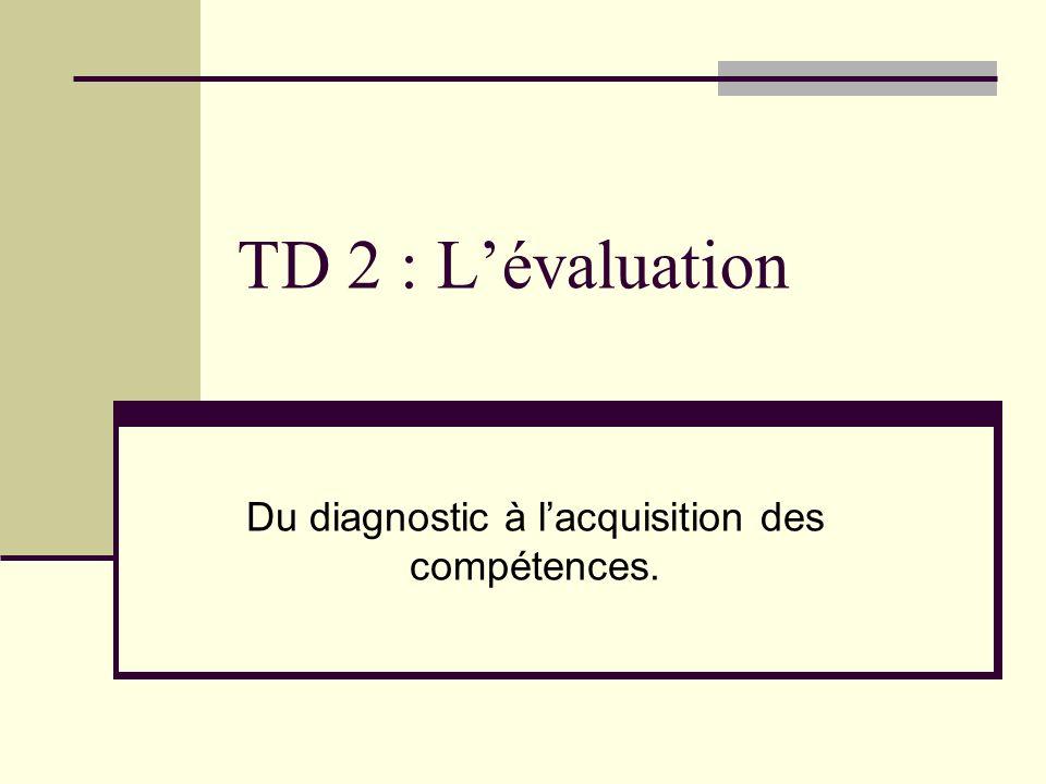 Du diagnostic à l'acquisition des compétences.