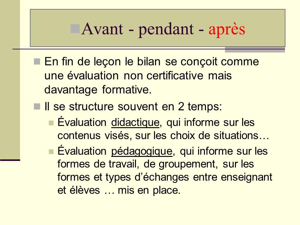 Avant - pendant - après En fin de leçon le bilan se conçoit comme une évaluation non certificative mais davantage formative.