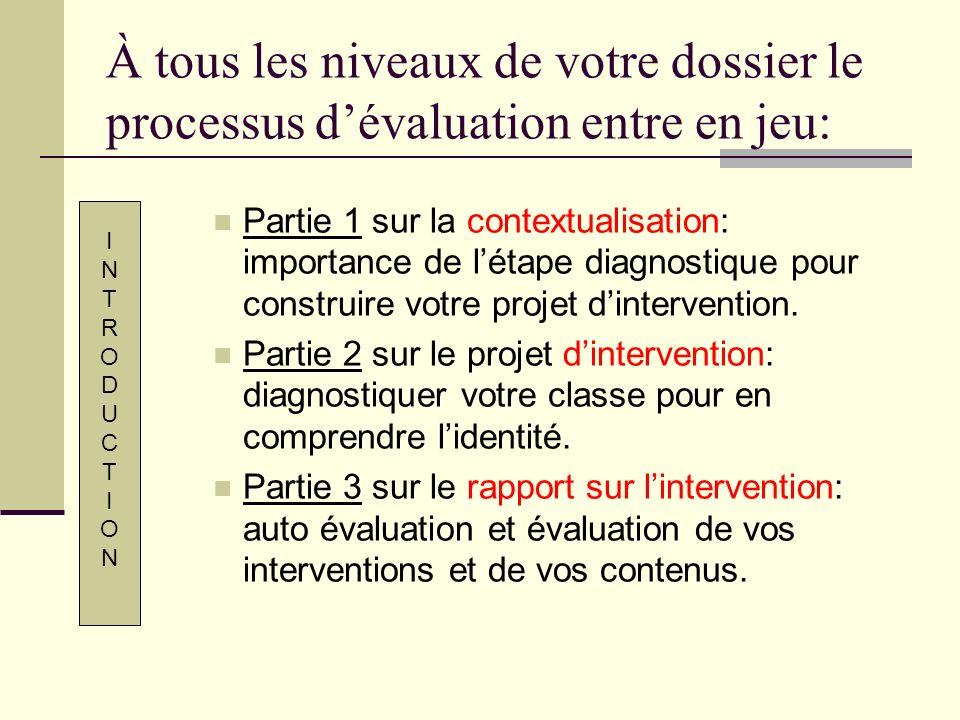 À tous les niveaux de votre dossier le processus d'évaluation entre en jeu:
