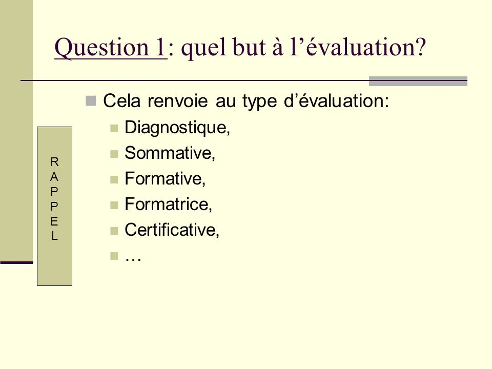 Question 1: quel but à l'évaluation