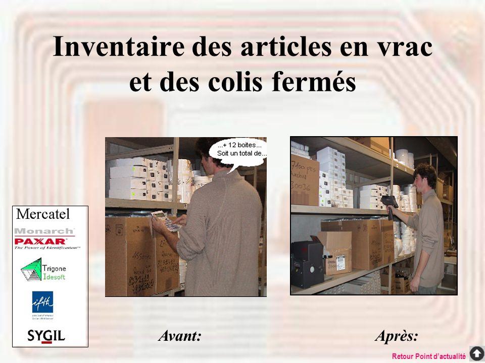 Inventaire des articles en vrac et des colis fermés
