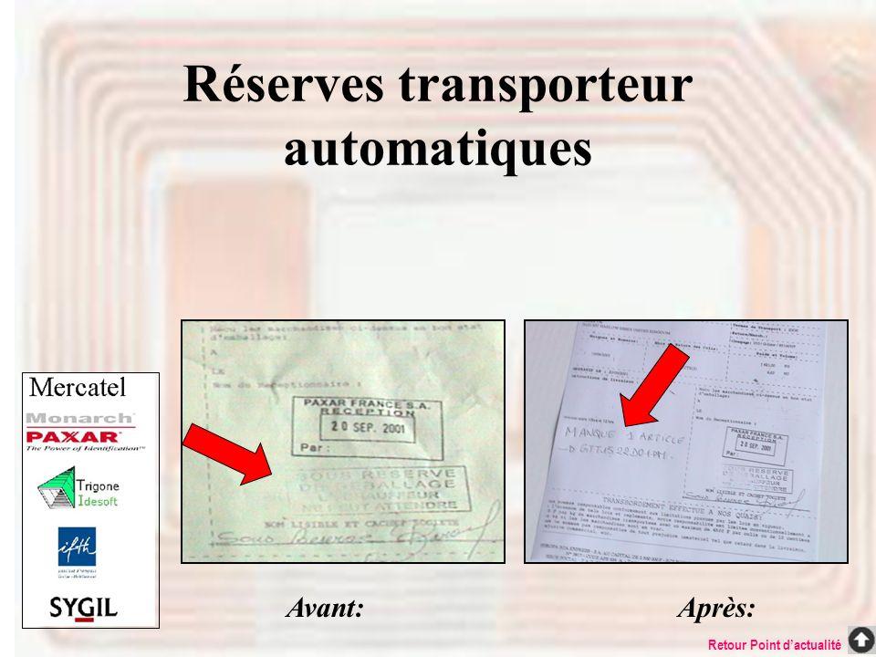 Réserves transporteur automatiques