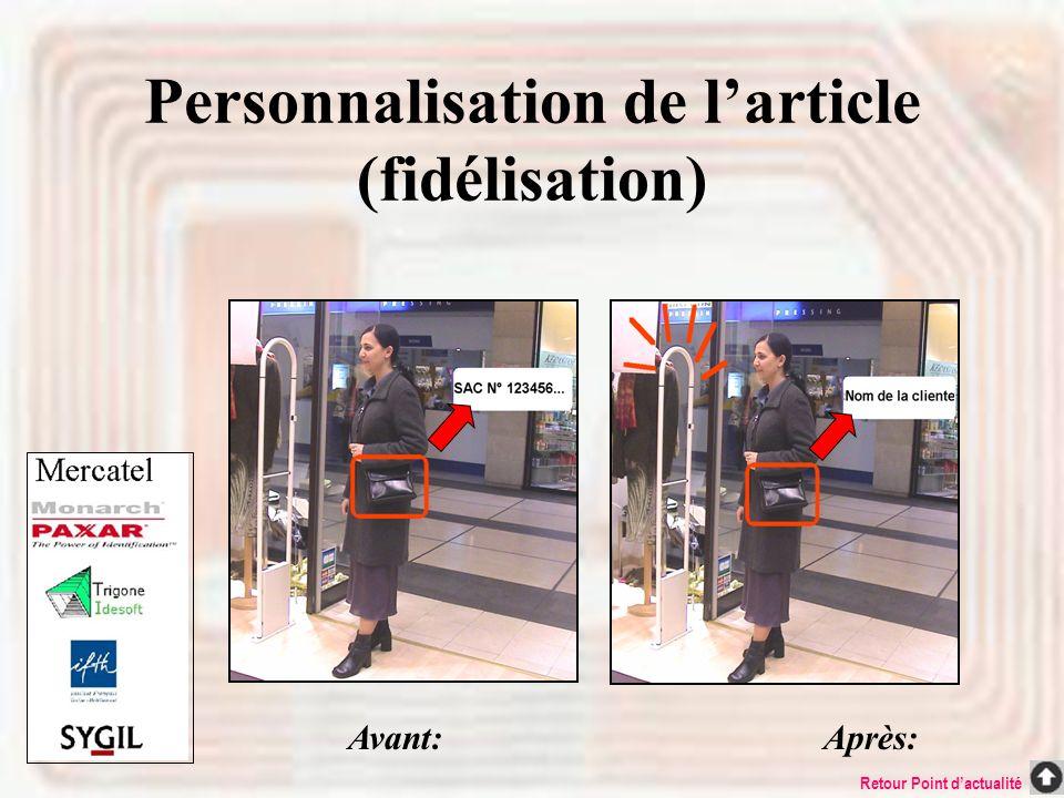 Personnalisation de l'article (fidélisation)