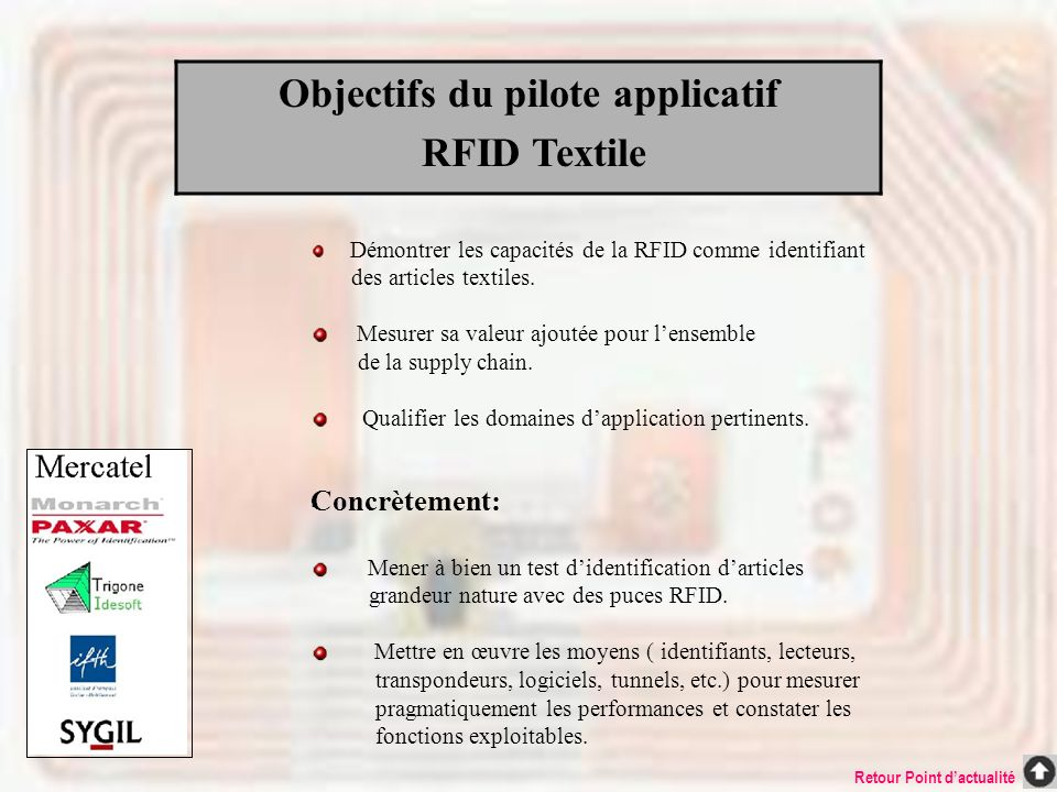 Objectifs du pilote applicatif