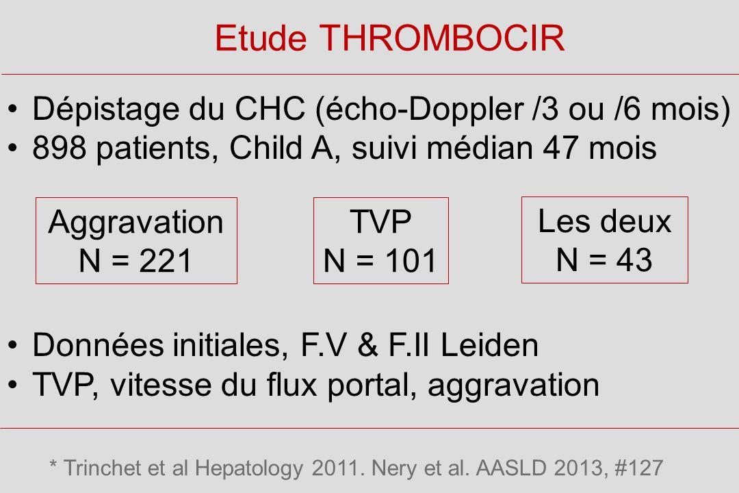Etude THROMBOCIR Dépistage du CHC (écho-Doppler /3 ou /6 mois)