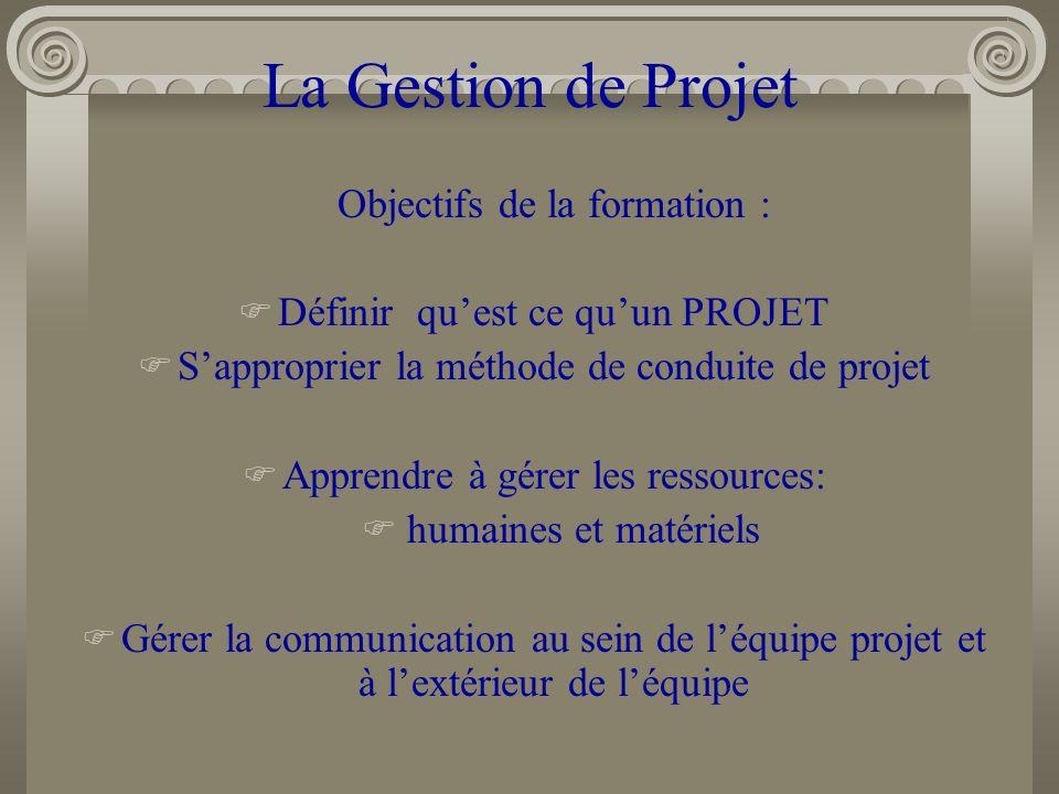 La Gestion de Projet Objectifs de la formation :