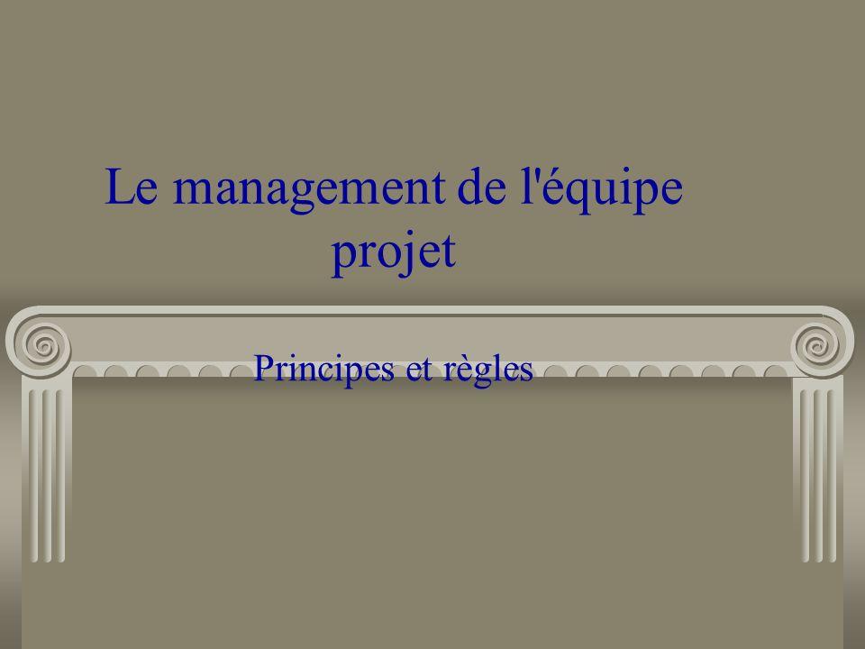 Le management de l équipe projet
