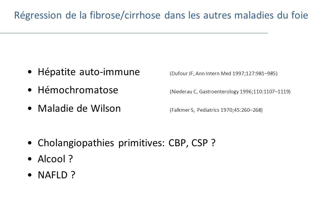 Régression de la fibrose/cirrhose dans les autres maladies du foie