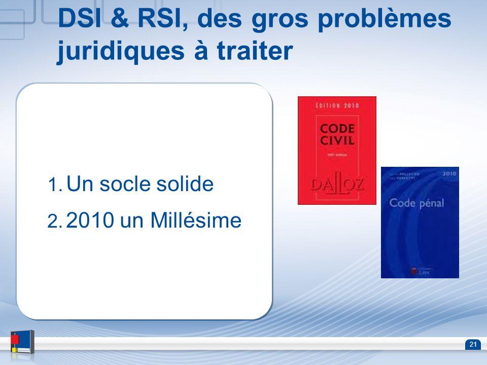 DSI & RSI, des gros problèmes juridiques à traiter