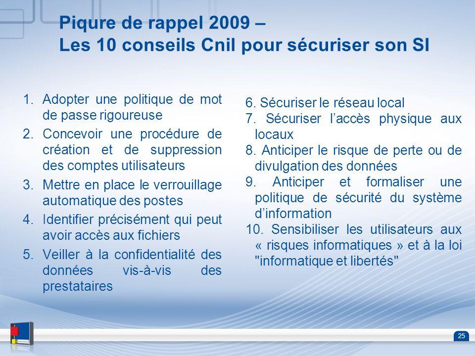 Piqure de rappel 2009 – Les 10 conseils Cnil pour sécuriser son SI