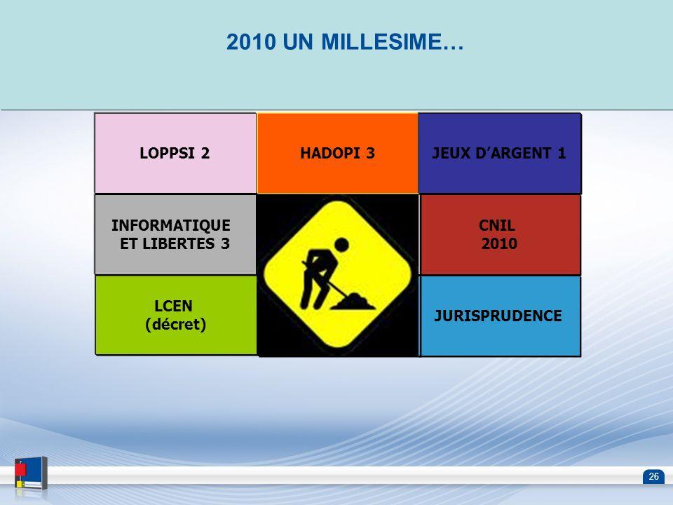2010 UN MILLESIME… LOPPSI 2 HADOPI 3 JEUX D'ARGENT 1 INFORMATIQUE