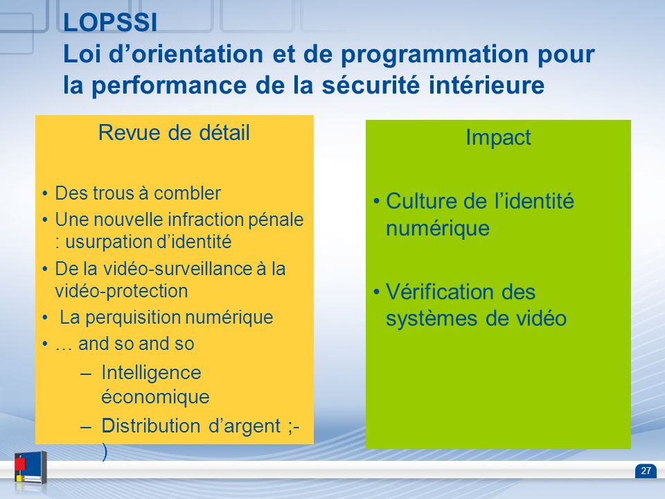 LOPSSI Loi d'orientation et de programmation pour la performance de la sécurité intérieure