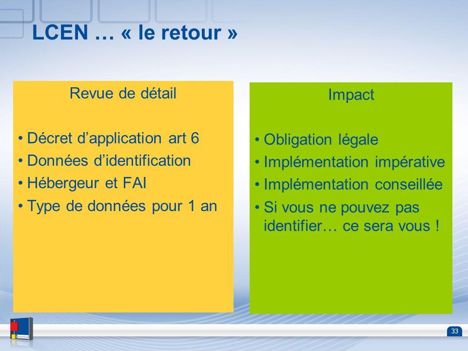 LCEN … « le retour » Revue de détail Impact Décret d'application art 6