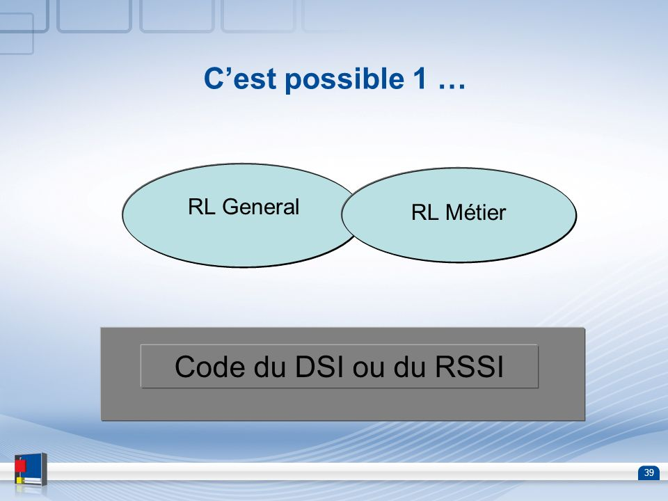 C'est possible 1 … RL General RL Métier Code du DSI ou du RSSI