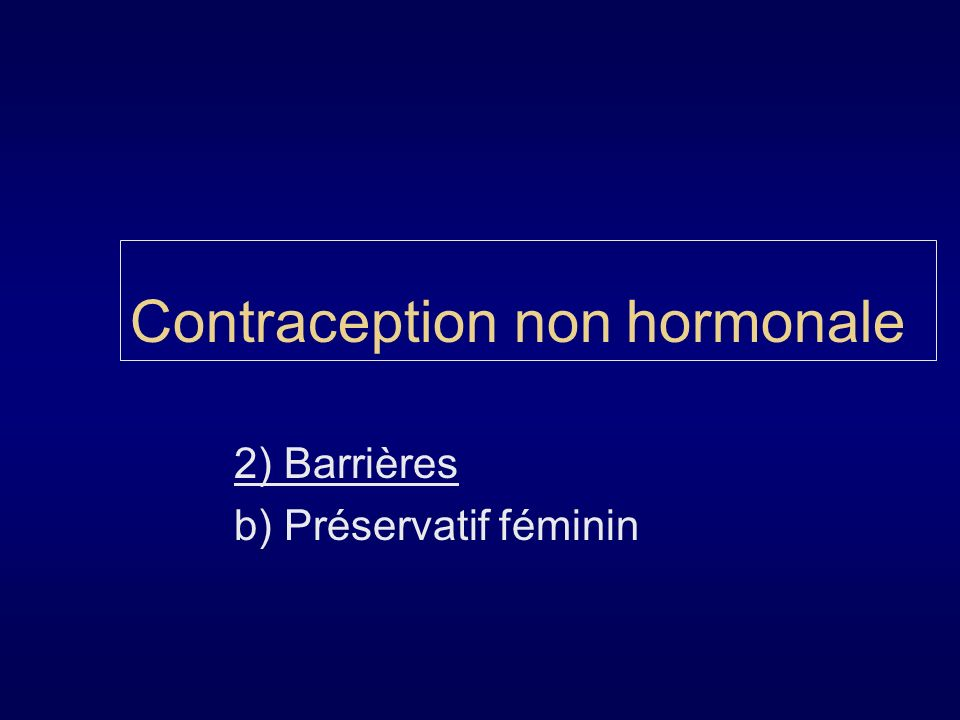 Contraception non hormonale