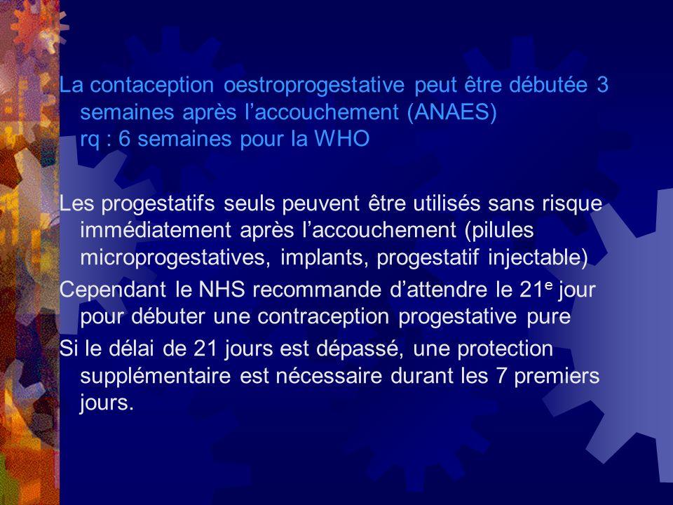 La contaception oestroprogestative peut être débutée 3 semaines après l'accouchement (ANAES) rq : 6 semaines pour la WHO