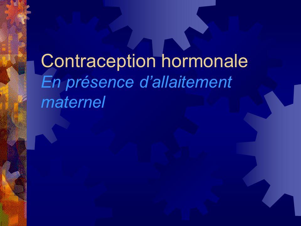 Contraception hormonale En présence d'allaitement maternel