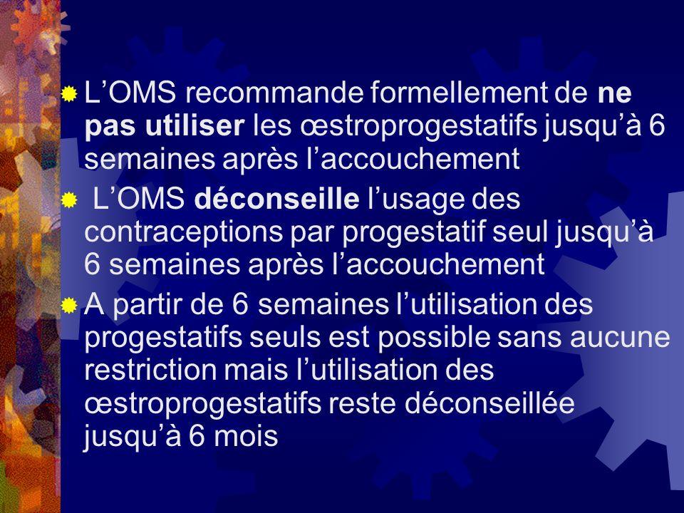 L'OMS recommande formellement de ne pas utiliser les œstroprogestatifs jusqu'à 6 semaines après l'accouchement