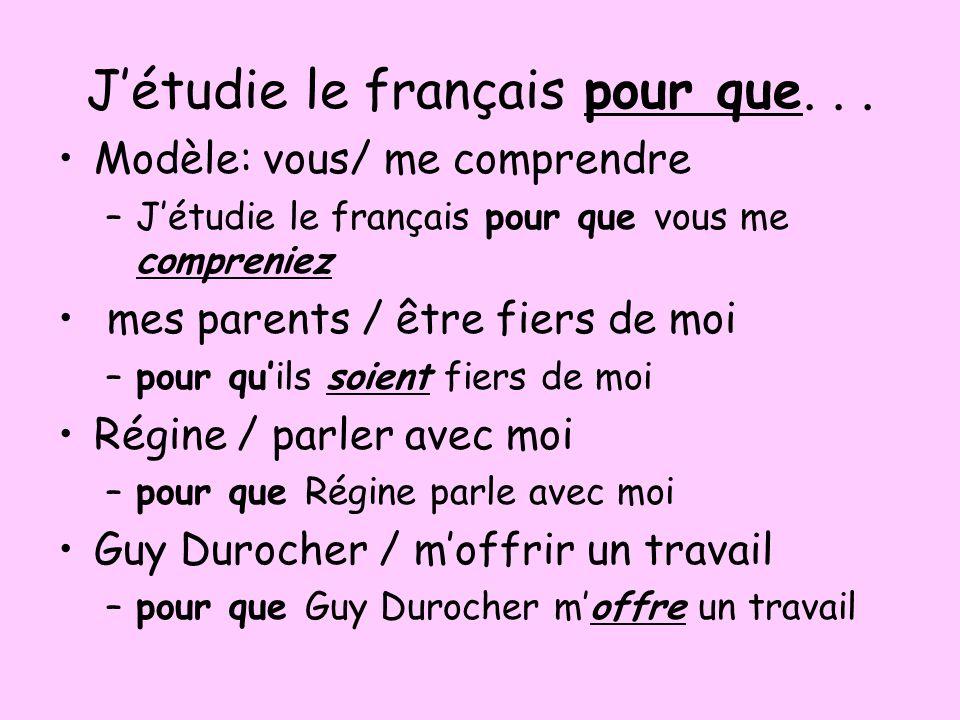 J'étudie le français pour que. . .