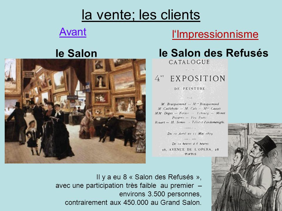 la vente; les clients Avant l'Impressionnisme le Salon des Refusés