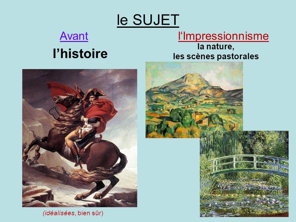 le SUJET l'histoire Avant l'Impressionnisme la nature,