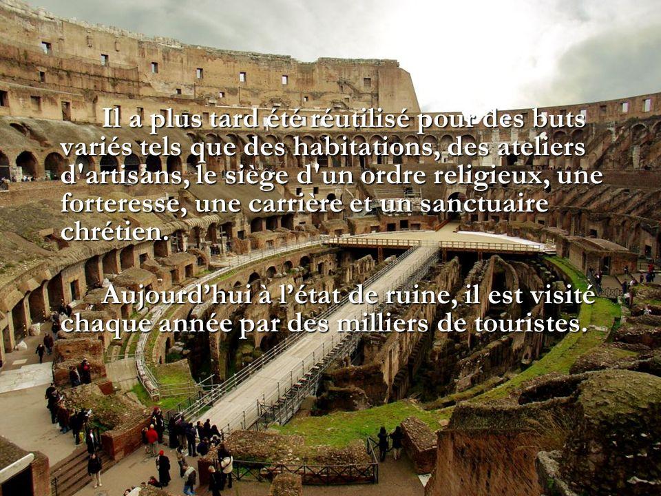 Il a plus tard été réutilisé pour des buts variés tels que des habitations, des ateliers d artisans, le siège d un ordre religieux, une forteresse, une carrière et un sanctuaire chrétien.