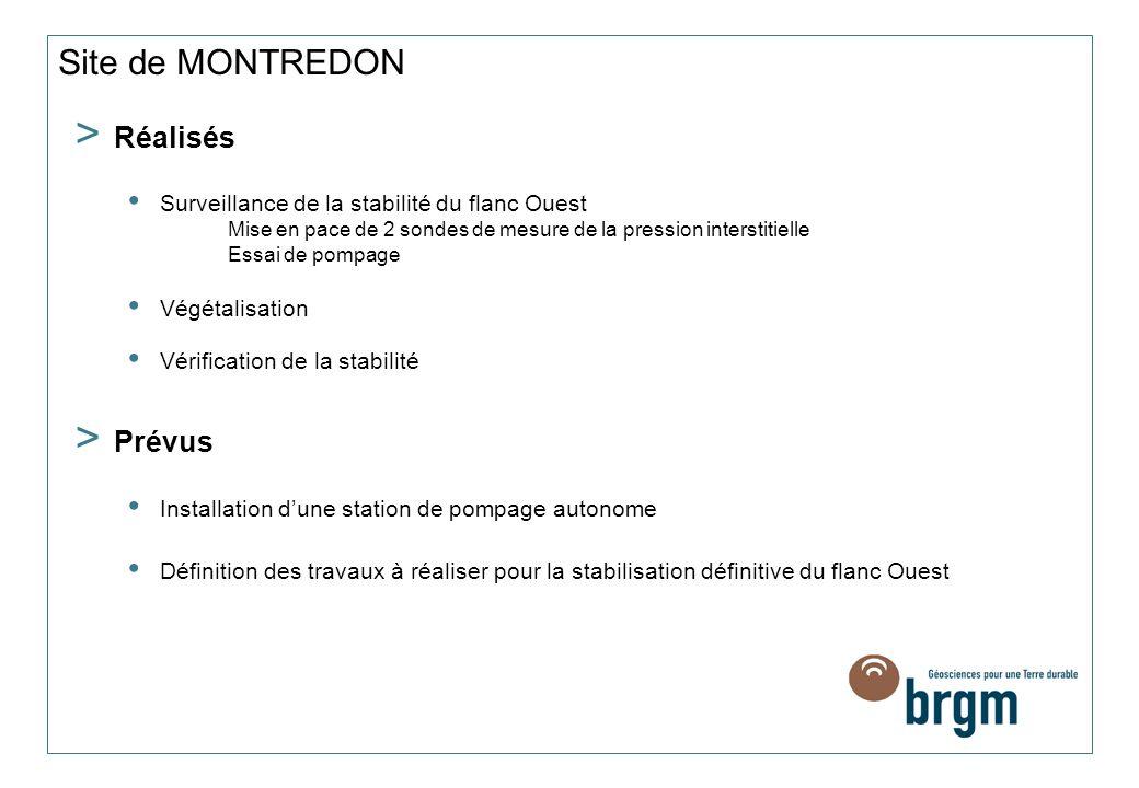 Site de MONTREDON Réalisés Prévus