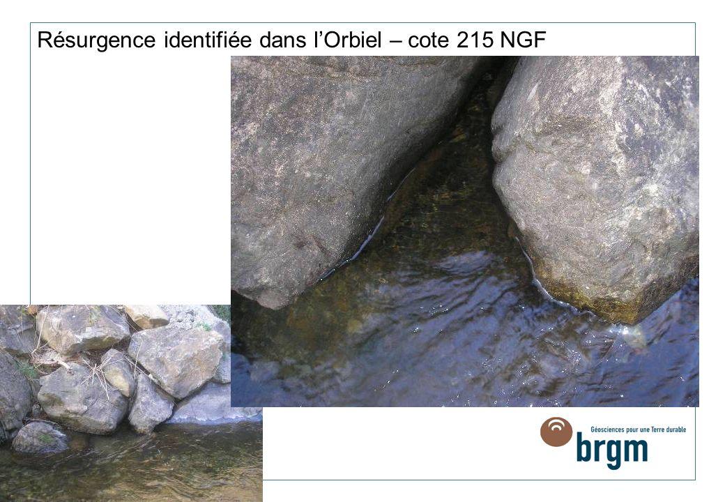 Résurgence identifiée dans l'Orbiel – cote 215 NGF