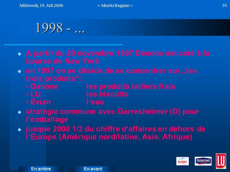 1998 - ... A partir du 20 novembre 1997 Danone est coté à la bourse de New York.