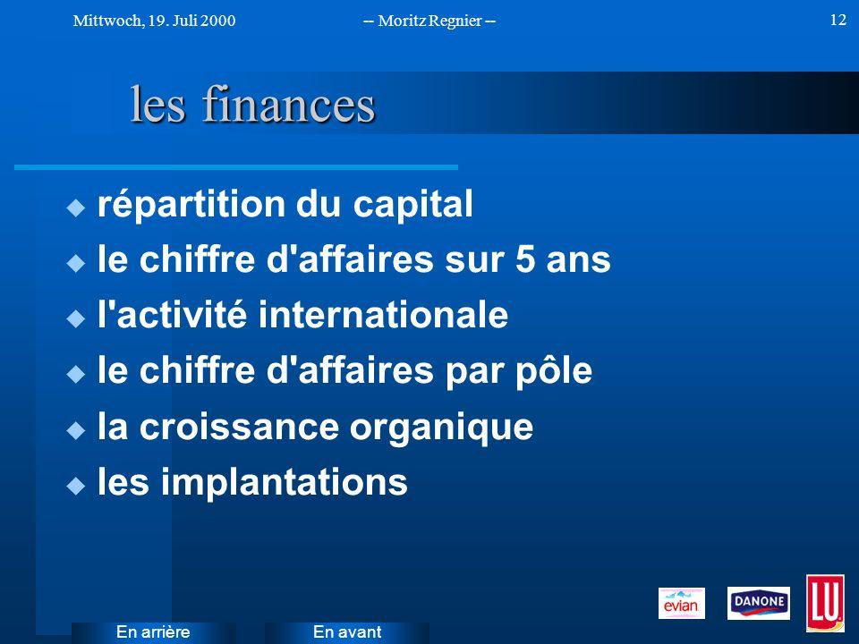 les finances répartition du capital le chiffre d affaires sur 5 ans