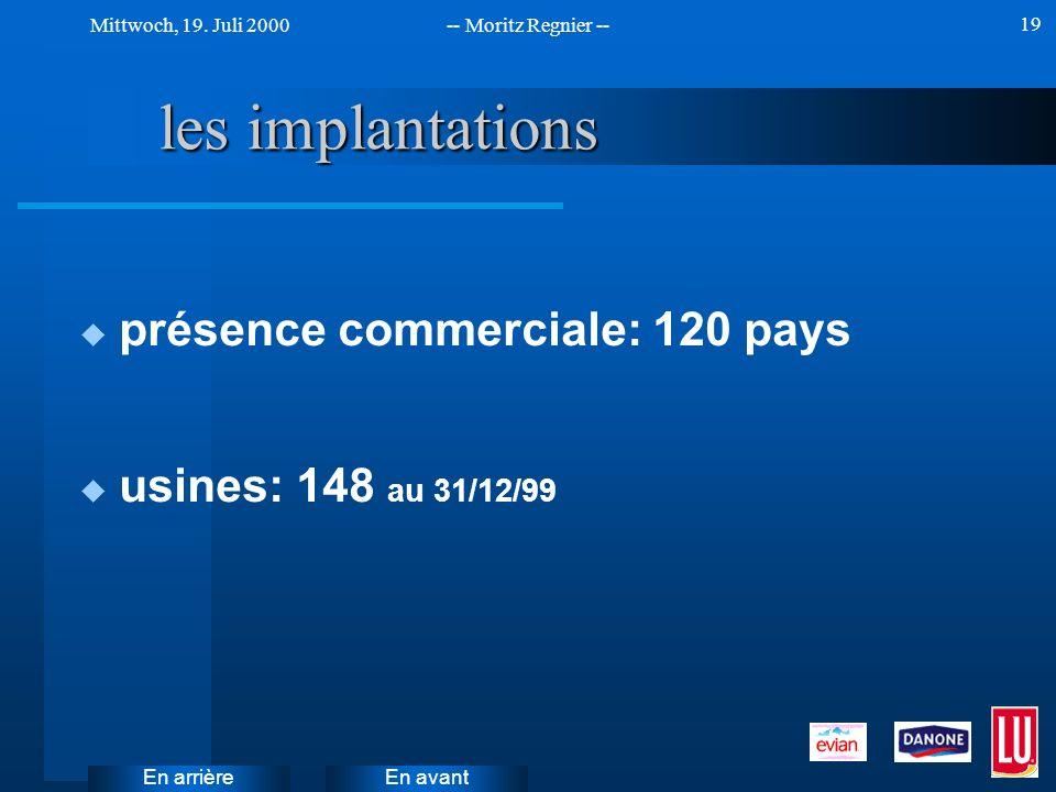 les implantations présence commerciale: 120 pays