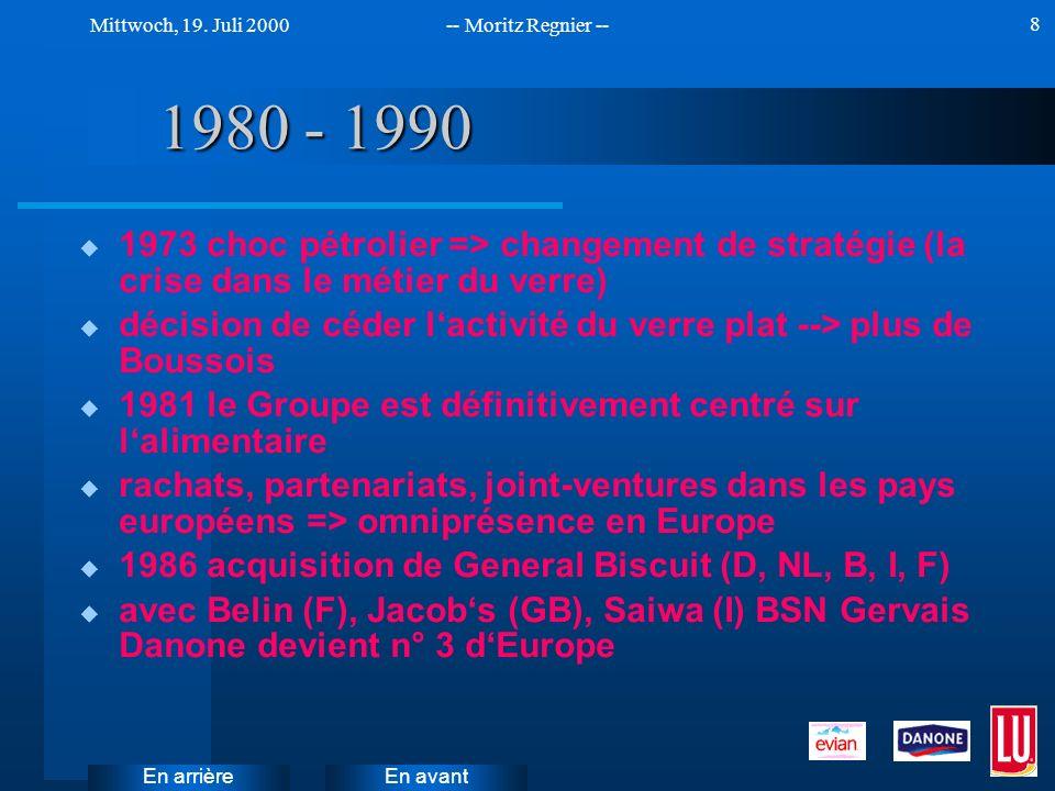 1980 - 1990 1973 choc pétrolier => changement de stratégie (la crise dans le métier du verre)