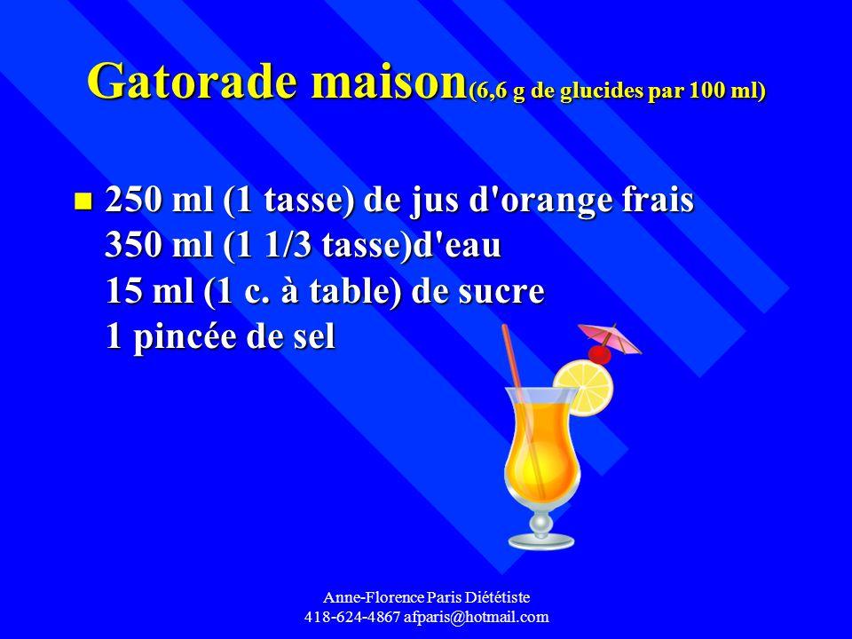 Gatorade maison(6,6 g de glucides par 100 ml)
