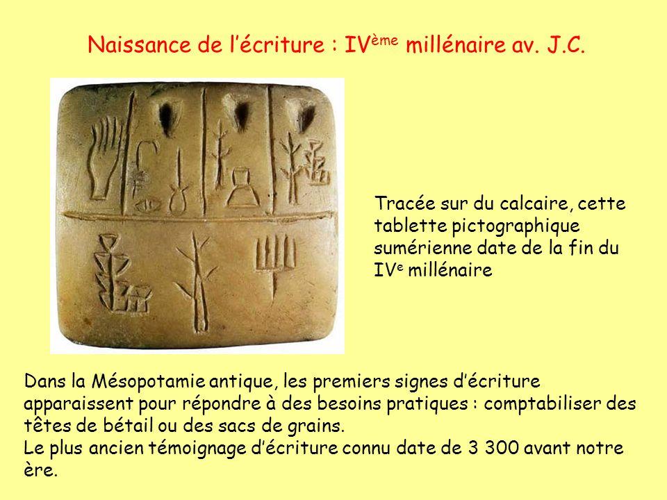 Naissance de l'écriture : IVème millénaire av. J.C.