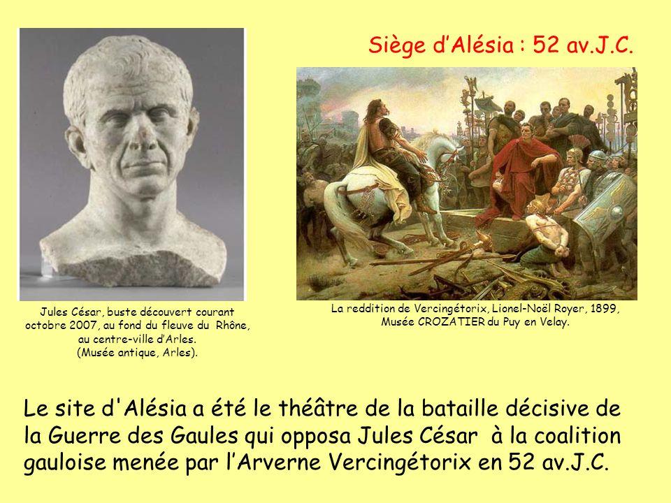 Siège d'Alésia : 52 av.J.C. Jules César, buste découvert courant octobre 2007, au fond du fleuve du Rhône, au centre-ville d'Arles.