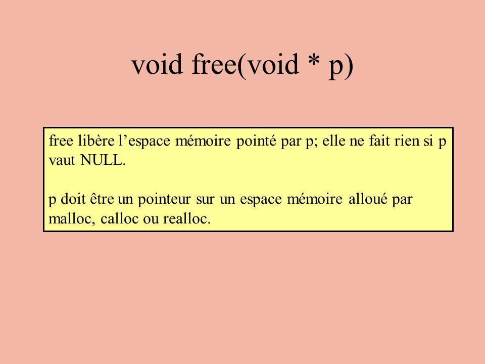 void free(void * p) free libère l'espace mémoire pointé par p; elle ne fait rien si p vaut NULL.